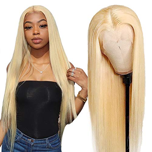 Allove 613 Blonde Lace Front Wig Human Hair Pre Plucked Bleached Hair Knots 24inch T Part Straight Lace Front Wigs with Baby Hair Natural Hairline 10a Middle Part Brazilian Human Hair Wigs for Black Women