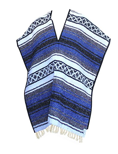 Del Mex Youth Child Classic Mexican Blanket Poncho Pancho Costume Blue