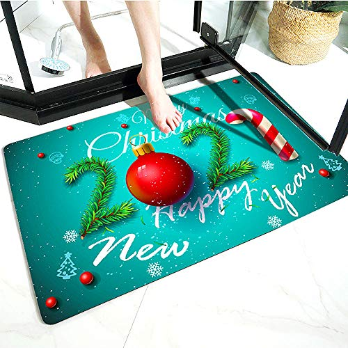 WELLXUNK Navidad Antideslizante Felpudo, Alfombras de Decoración de Navidad Antideslizante y Absorbente, Alfombrillas...