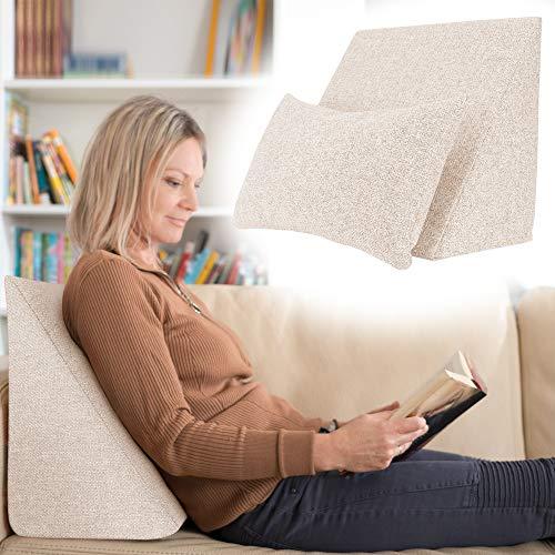 Selfitex praktisches Keilkissen, Lesekissen, Rückenstütze, ergonomische Form (50x40 cm Höhe 25 cm), inklusive Relaxkissen, Sofakissen, Wellness-Kissen 2er Set für Bett/Sofa/Couch (Beige)