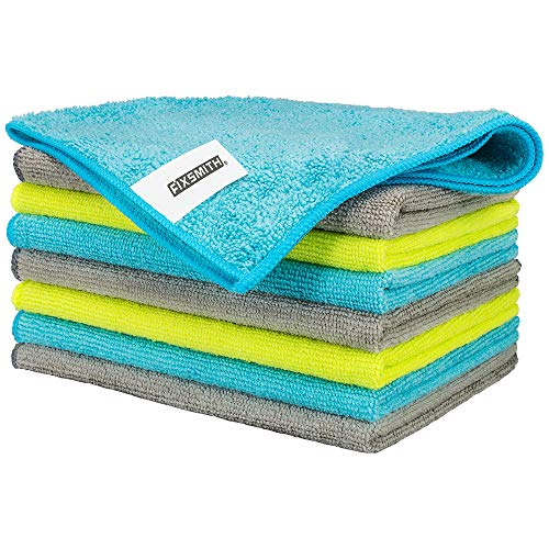 FIXSMITH Microfiber Cleaning Cloth - Pack of 8, All-Purpose Cleaning Towels, Size: 12 x 16 in, Highly Absorbent Cleaning Rags, Lint-Free, Streak-Free Cleaning Cloths for Car Kitchen Home Office.