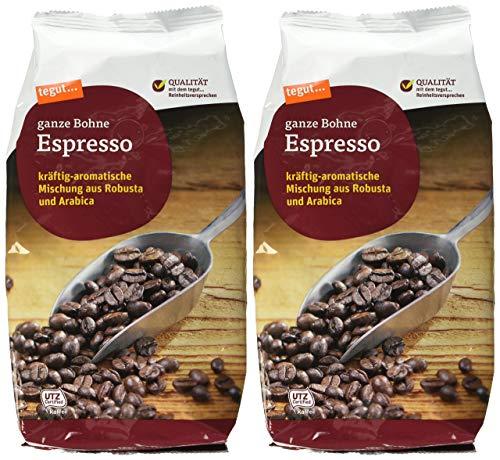 tegut... Espresso ganze Bohne, 2er Pack (2 x 1 kg)