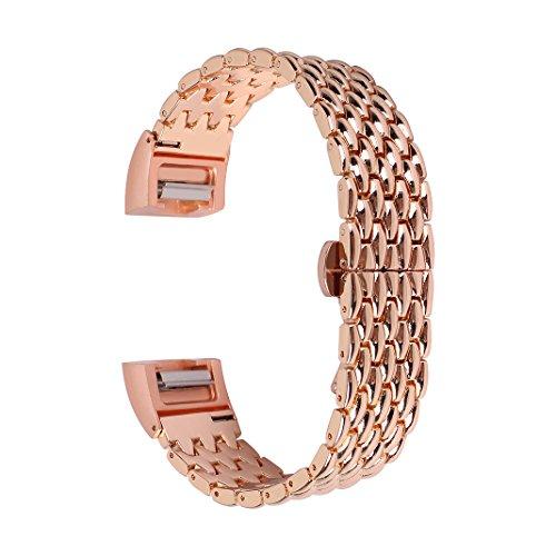 Armband für Fitbit Charge 2 Rosa Schleife Fitbit Edelstahl Ersatz Uhrenarmband Smartwatch Armbänder Fitness Wristband mit Metallschließe Band für Fitbit Charge 2 Smart Fitness Watch