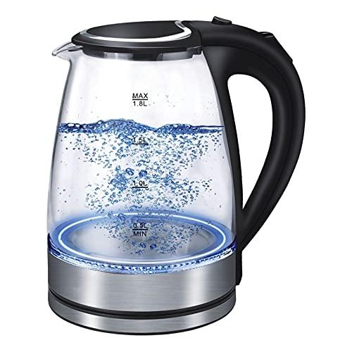 urban society Hervidor de Agua Eléctrico 350 Clear. 1,8 litros, Libre de BPA, 1800 W de Potencia, Base 360º, Filtro Antical, Doble Sistema de Seguridad, Vidrio Borosilicato