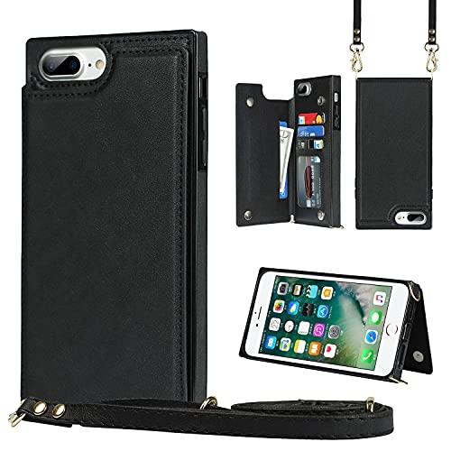 Funda tipo cartera para iPhone 6 Plus/6S Plus con soporte para tarjetas de crédito Crossbody bolsa de teléfono monedero correa de hombro cubierta de cuero magnético [bloqueo RFID] [Kickstand] [Negro]