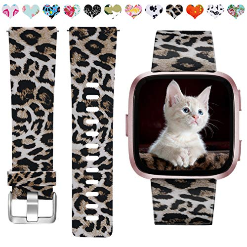 Maledan Bands Compatible with Fitbit Versa 2/Versa Smartwatch/Versa Lite SE, Water Resistant Flexible Adjustable Accessories Printed Strap Wristbands for Women Girls, Leopard Pattern, Small