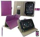 Emartbuy® Medion LifeTab S8311 MD 98983 8 Zoll Tablet Universalbereich Plum Multi Winkel Folio Executive Hülle Cover Wallet Hülle Schutzhülle mit Kartensteckplätze + Lila 2 in 1 Eingabestift