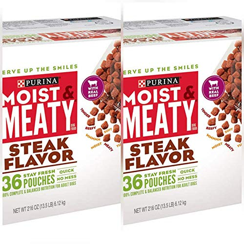 Purina Moist & Meaty Wet Dog Food; Steak Flavor
