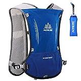 Azarxis Chalecos de hidratación para Correr Mujeres Hombres Carrera Chaleco para Correr Sendero de hidratación Chaleco para Correr Maratón Mochila (Azul - con una Botella de Agua Blanda (600 ml))