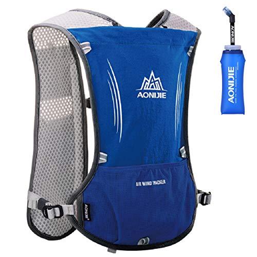 Azarxis Hydrationswesten für Laufen Damen Herren Race Laufweste Hydration Trail Running Water Weste (Blau - mit Einer weichen Wasserflasche (600ml))