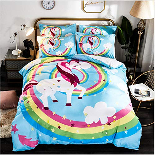 Gvvaceo 3D Bedding Set Quilt Cover Super kingsize sets 260 x 230 cm Twin Bedroom Decor for Kids Boy Girl Queen King Size Bedding Set + 2 Pillowcase 50 X 75 cm Cartoon animal unicorn christmas beddi