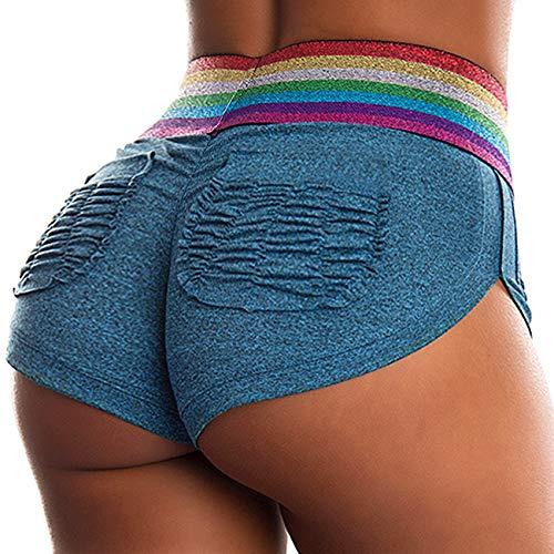 INSTINNCT Damen Shorts Sport Yoga Kurze Hose Sweatpants Laufshorts Training Gym Yoga Fitness Yoga B-Blau mit Taschen(1710) S