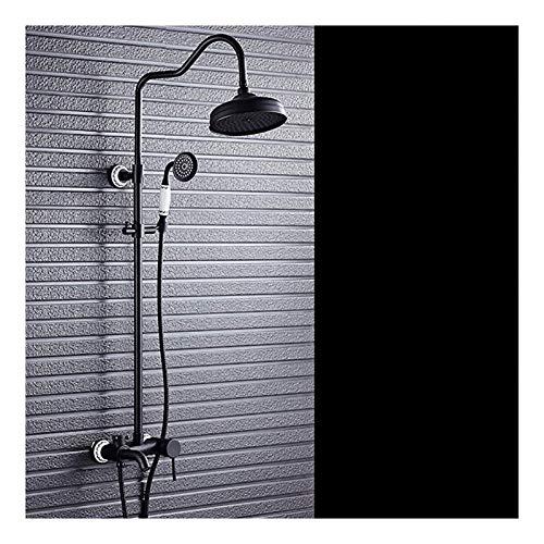 Juego de ducha de columna de latón Rociador de ducha de pared Set de ducha retro Sistema de ducha de cobre negro