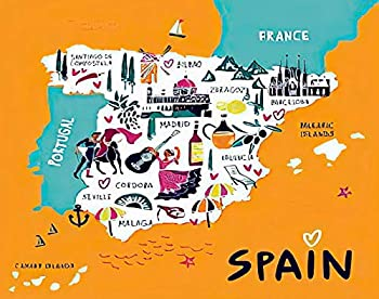 MQPPE Cartoon 5D DIY Diamond Painting Kits Tourist Map of Spain Sights Architecture City Names Symbols Full Drill Painting Arts Set Craft Canvas for Home Wall Decor Adults Kids 12  x 16