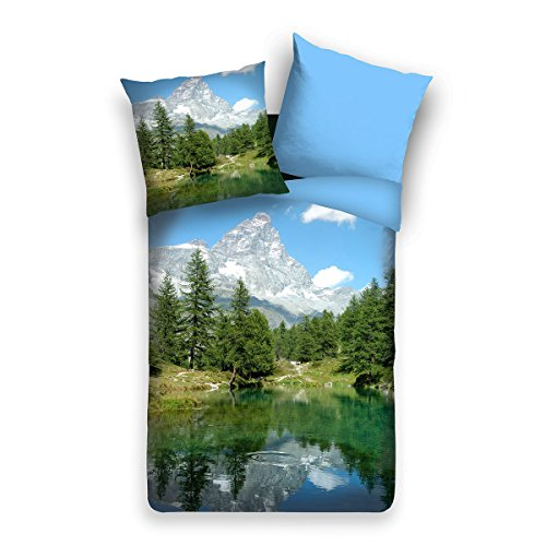 Traumschlaf Wendebettwäsche Panorama Bergsee 1 Bettbezug 135 x 200 cm + 1 Kissenbezug 80 x 80 cm