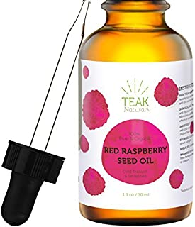 RED RASPBERRY SEED OIL by Teak Naturals, 100% Organic, Natural for Face, Hands, Scars, and Breakouts 1 oz