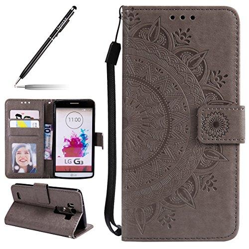 Uposao Kompatibel mit LG G3 Handytasche Mandala Blumen Muster Handy Hüllen Flip Hülle Cover Schutzhülle Ledertasche Wallet Lederhülle Etui Bookstyle Klapphülle,Grau