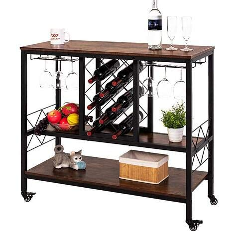 KanLin Wine Rack Table with Glass Holder, Vintage Industrial Wine Bar Cabinet with Storage, Wine Storage Organizer Display Stand Bar Carts for Home, Mobile Wine Cart on Wheels【US Stock】