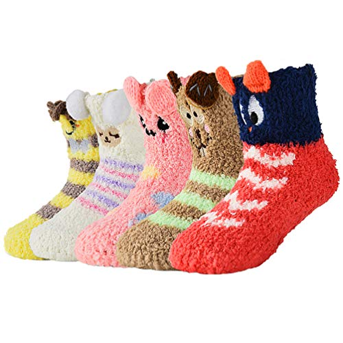 Baby Socken Winter Warme Antirutschsocken - Kinder Flauschige Stoppersocken Karikatur ABS-Krabbelsöckchen Fleece Socken für Kleinkind Mädchen & Jungen Geburtstag Christmas Geschenke 0-3 Jahren 5 Paar