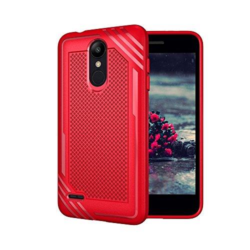 Yhuisen Handy-Taschen und Handy-Hüllen, LG K8 (2018) Gehäuse, texturiert stoßfest Rüstung weichen TPU zurück Fall für LG K8 (2018) (Farbe : Rot)