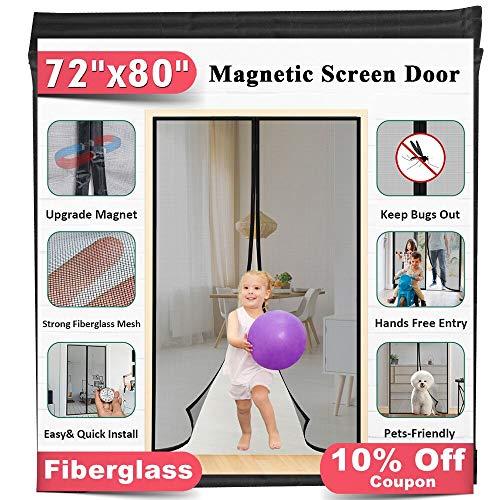 Upgrade Fiberglass Magnetic Screen Door, Fits Doors up to 70 x 79-Inch, Mkicesky...