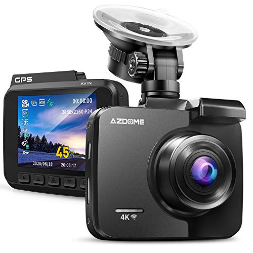 AZDOME 4K Dash Cam UHD 2160P Built-in GPS WiFi Dashboard Car Camera DVR Recorder with Night Vision, WDR, 170° Wide Angle,Parking Monitor, Support 128GB Max