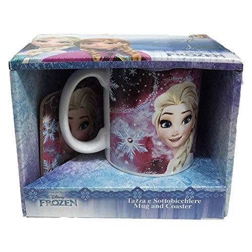 TAZZA Mug Frozen Elsa Disney in Ceramica con SOTTOTAZZA in Cartone - D98523