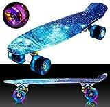 """Oppikle 22"""" 55cm Mini Cruiser Skateboard Retro Komplettboard mit LED"""