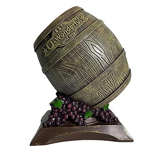 Yadlan Soporte para Vino, Botellero Forma de Barril de Vino, Decoración del Hogar Bar Escultura Hogar Interior Manualidades, Diseño Creativo Estanterias de Resina