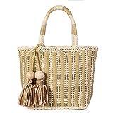Photo Gallery joseko borse tote con pompon, borsa corda di cotone donna borse a mano borsa da spiaggia tote per vacanze cachi