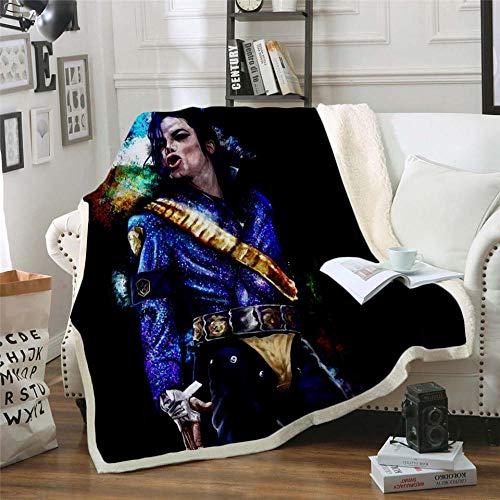 MOUPSDT Impresión 3D Manta de Sherpa Monumento Azul Negro a Michael Jackson Reversible para niños niños Adultos Manta sólida de Dibujos Animados de Felpa Impresa para Cama sofá 130x150 cm