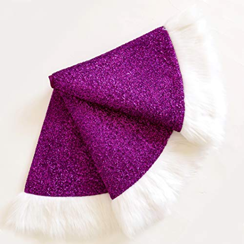 Dazzling Shimmering Purple Bright Silk Cloth Christmas Tree Skirt with White Plush Border Christmas Decorations Indoor Outdoor Xmas Party Decor Holiday Ornaments Home Decor White Fur Edge 48 inches