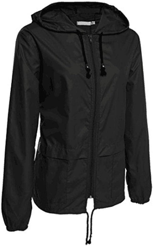 Bon Soir Women's Winter Outerwear, Ladies Lightweight Rain Jacket Outdoor Packable Waterproof Hooded Raincoat Coats