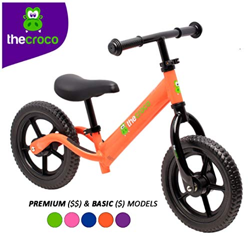 TheCroco Lightweight Balance Bike for Toddlers and Kids… (Orange, Premium Aluminum)