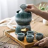 Rvlaugoaa Juego De 8 Copas De Sake con Calentador Y Estufa De Vela, Juego De Tazas De Sake JaponéS Tradicional Juego De Copas De Vino De CeráMica Verde Malaquita