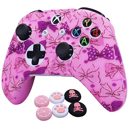 1 Piece of Silicone Water Transfer Printing Protective Cover Skin RALAN ,Camouflage Silicone Cover Skin Case for Microsoft Xbox One X & Xbox One S Controller x 1(Pink) with Thumb Grips x 6 (HDF 003)