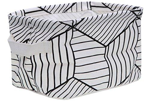 bellendo® Utensilo Aufbewahrungskorb Kinderzimmer Badezimmer Stoff klein - 20 x 16 x 13 cm - Stoffkorb Baby Kinder Wickeltisch, weiß gestreift