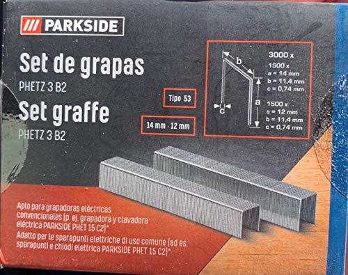 Grapas para grapadora electrica parkside PHET15, 3000 unidades de 12mm y 14mm...