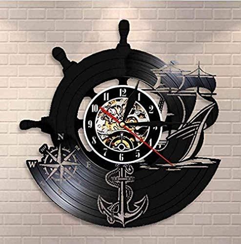 XYLLYT Bussola Blu Marino Orologio da Parete Design Orologio da Parete in Vinile con Design retrò Marina Militare Orologio da Parete Fatto a Mano per Marinai di Famiglia