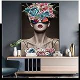 wZUN Belleza Abstracta Arte de la Pared de Vidrio niña de Las Flores Lienzo Pintura Arte Sala de Estar decoración del hogar Pintura 60x80 Sin Marco