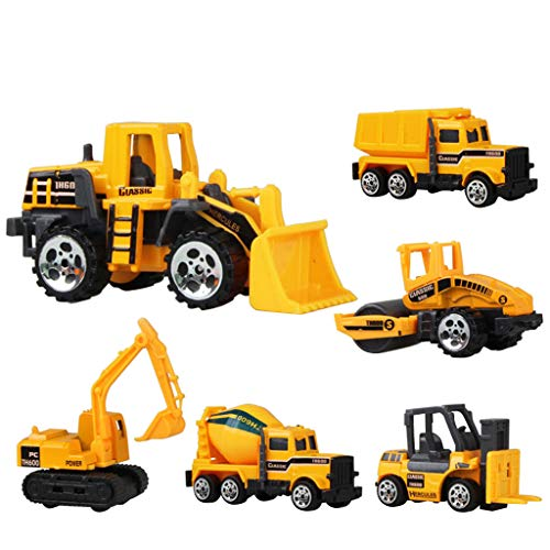 Construction Vehicles, Engineerin Toy Truck Cars 6 Pcs,Toddlers Friction Powered Push Mini Toy Cars,Assorted Play Vehicles Best Gift for Age 3 Years and Up Boys Girls