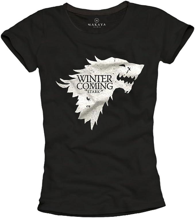 MAKAYA Camiseta Negra Mujer - Winter IS Coming Stark