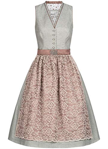 MarJo Trachten Damen Trachten-Mode Midi Dirndl Gluma in Grau traditionell, Größe:42, Farbe:Grau