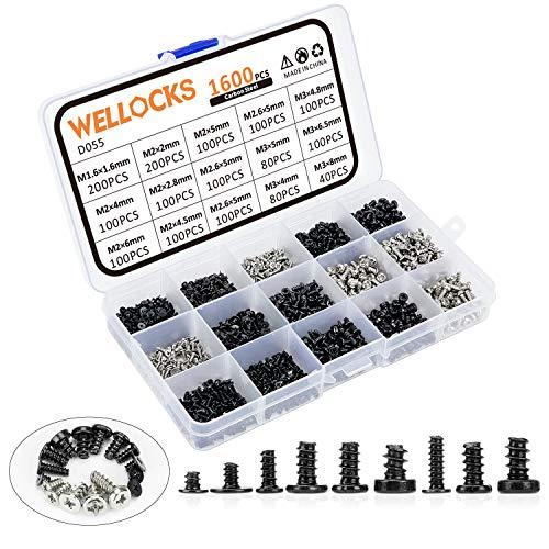 WELLOCKS Mini-Schraube 1600 PCS M1.6 M2 M2.6 M3 Hochpräzise Mikro-Schrauben, winzige elektronische Schrauben Sortiment Kit Kohlenstoffstahl für Maus und Tastatur Reparatur (D055)