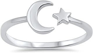 Sterling Silver Celestial Star & Moon Open Ring Sizes 2-10 Colors Available
