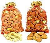 Spacetouch Almendras enteras con nueces de anacardo en bolsa decorativa, paquete de regalo de frutos secos Badam 250 gramos con 250 gramos de kaju