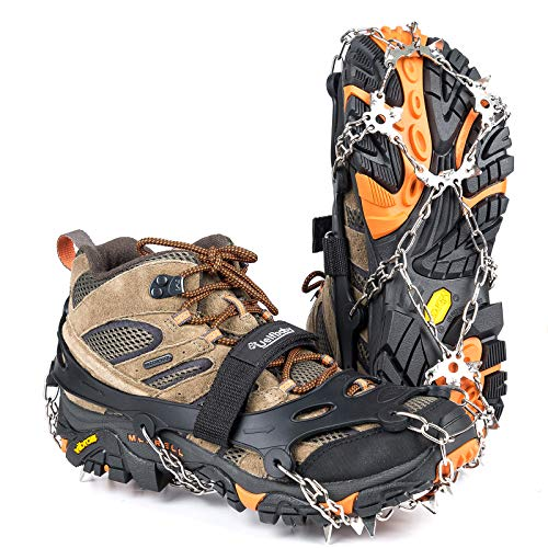 Uelfbaby Crampons Upgraded 19 Spikes Ice Snow Grips Traction Cleats System Safe Protect for Walking, Jogging, or Hiking on Snow and Ice (Fit...