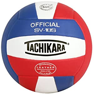 Tachikara SV18S Composite Leather Volleyball (Red White and Blue) , SCARLET/WHITE/ROYAL