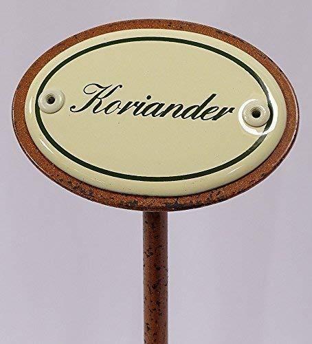 linoows Kräuterschild Kräuterstecker Emaille, Koriander, Erdspieß 25 cm