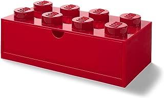 LEGO Desk Drawer 8 Knobs Stackable Storage Box, Red, Large